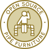 Pipe Furniture Construction Icon, DIY pipeline chair, DIY pipe dining table, DIY pipe shelving, Do-it-yourself pipeline couch, recycled pipe building, building with pipes, pipeline furniture, open source pipeline designs, eco-pipe construction, Duplicable City Center Pipe Furniture, green lifestyle, renewable neighborhood, upcycled pipeline designs, One Community