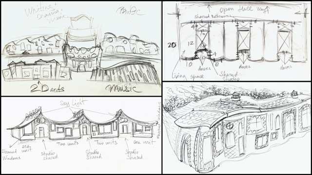 second round of Cob Village (Pod 3) sketches, One Community