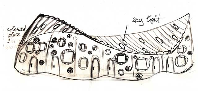 drawing of music-inspired communal living structure for cob village, One Community