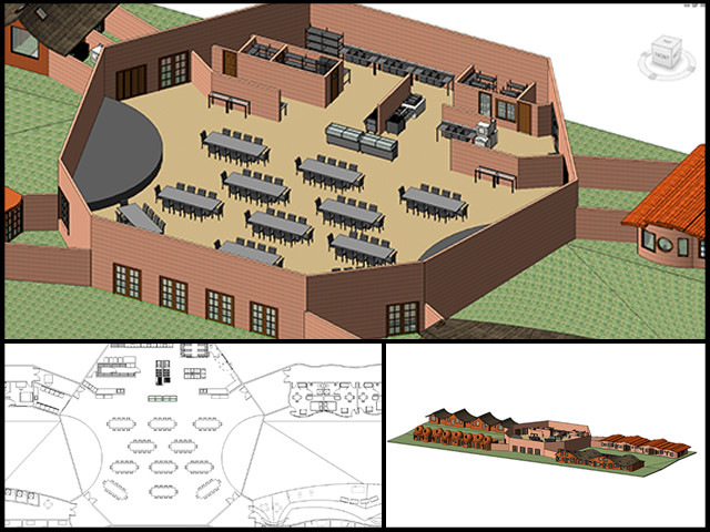 Renata (Civil Engineering Student) continued work on the Central part of the Cob Village (Pod 3). She updated the layout of the kitchen and dining hall and also added textures to the roof and exterior walls to make the model more realistic.