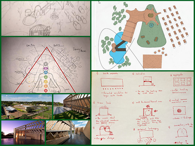 Erika, Pedro, and Victor from the Architecture and Planning Intern Team started designing the Compressed Earth Block Village (Pod 4). For this, they researched fabrication, construction techniques, and structural behavior of earth blocks. Then, they determined some initial concepts for this village based on a central theme and created preliminary sketches.