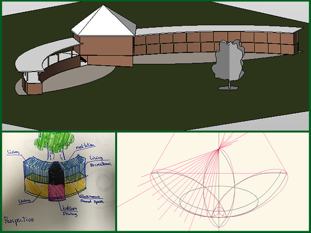 Erika, Pedro, and Victor from the Architecture and Planning Intern Team improved their preliminary designs of the Compressed Earth Block Village (Pod 4) to include the best solar orientation during the Winter Solstice and began designing the village in Revit. They also updated the final lighting design reports for both the Duplicable City Center and the Earthbag Village.