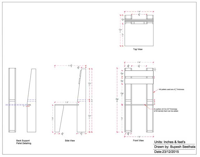 Bupesh Seethala, Architectural Drafter & Designer, is additionally converting these furniture designs into AutoCAD. Here you can see draft 1 of the pallet furniture chair.