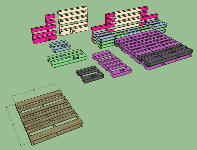 We also started double checking the construction details for the pallet bed. Here you can see a breakdown of the construction components: