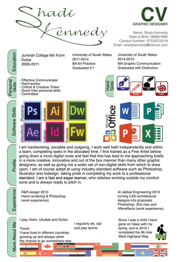 Shadi Kennedy CV, Shadi Kennedy CV, Graphic Designer, Artist, Sketchup, PhotoShop, InDesign, Illustrator, 3DS Max, One Community Volunteer