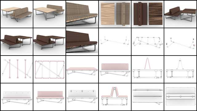 Iris Hsu (Industrial Designer), continued finalizing the Pipe Couch designs for the Duplicable City Center library working on the renders you see here for the couch assembly instructions.